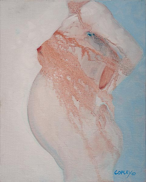 painting of the torso of a very pregnant woman
