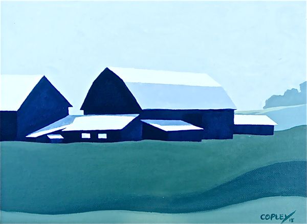 a green, white, and two shades of blue painting of barns and other buildings