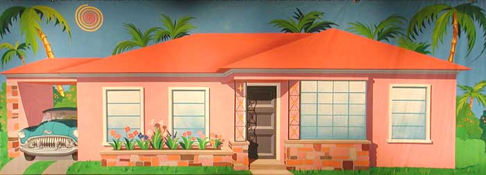 backdrop of a 1950s house