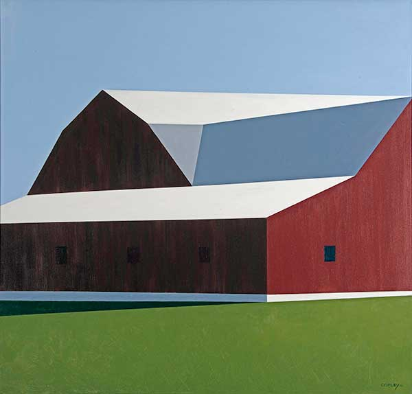 painting of a red barn with a white roof against a clear blue sky