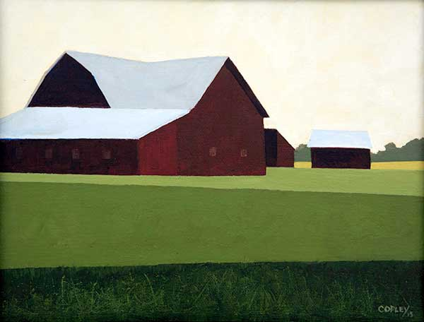 painting of a red barn set on a hill with green fields in front against a cream colored morning sky