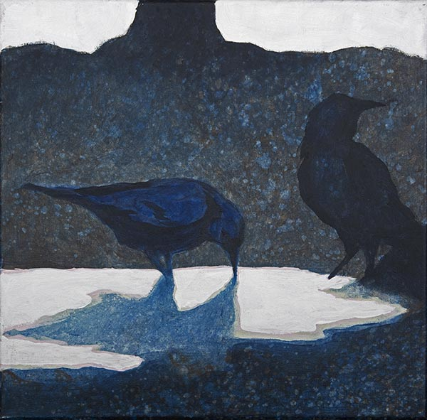 a painting of two black birds, crows, standing in a puddle against a dark background