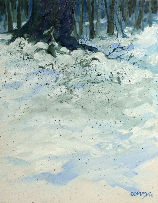 painting of snow covered ground with the edge of the woods and tree trunks in the background
