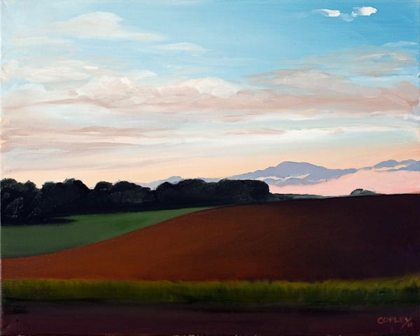 painting of a sunsset over farm fields