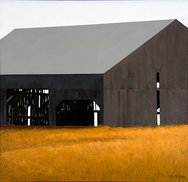 painting of a weathered grey barn with a grey roof in a golden field of grass against a white sky. Through the doorway, you can see that there are boards missing on the far wall.