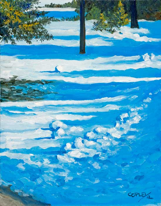 painting of a snow covered field with trees casting shadows