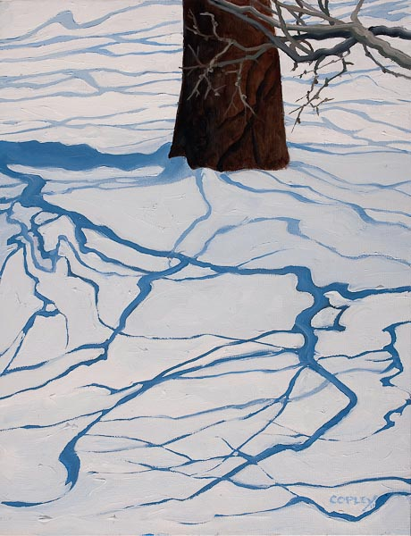 painting of tree shadows on snow