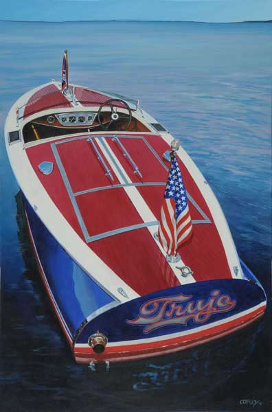 painting of a speedboat named Trujo