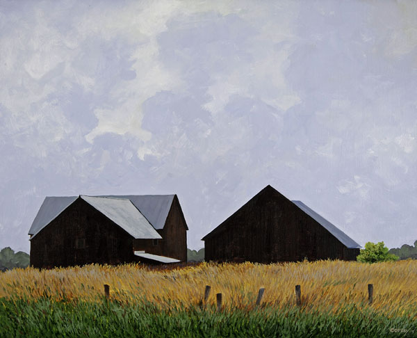 a painting of 2 barns against a cloud filled blue sky with fields of green and gold in the foreground