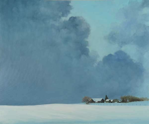 a painting of a snowy farm scene with threatening clouds.