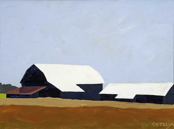 painting of barns beyond 2 golden fields against a blue sky