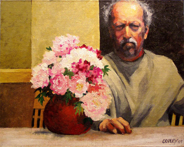 grumpy looking self portrait of a man sitting next to a vase of peonies