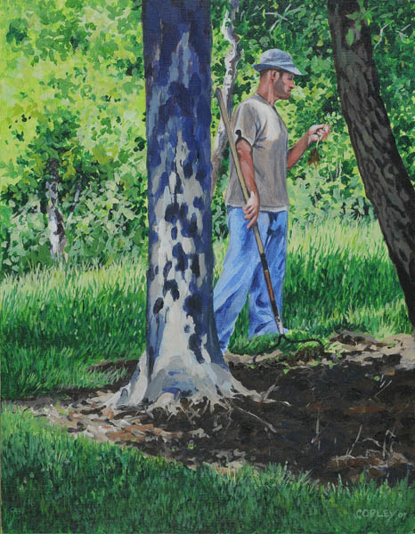 painting of a man with a rake looking at a seedling