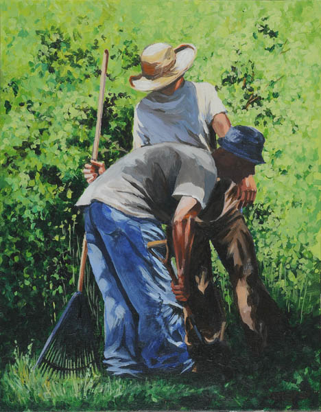 painting of two men picking up gardening tools