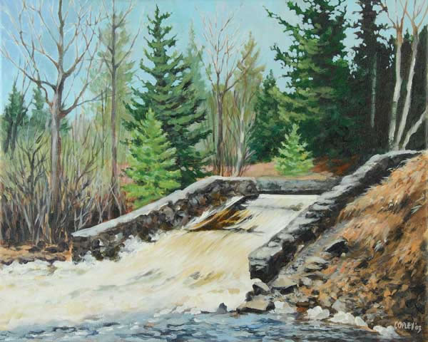 painting of a spillway on the Trout River