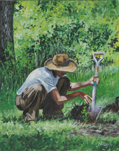 painting of a man planting a tree seedling