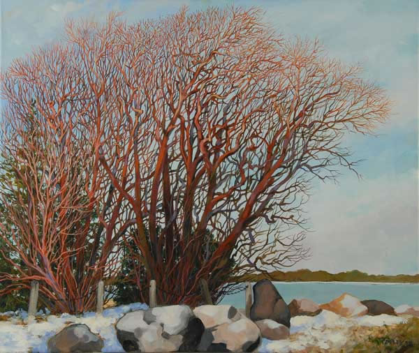 painting of willows in winter at Seagull point