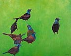 painting of a group of blackbirds