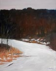 painting of a snowcovered lane through trees