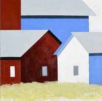 a geometric painting of three buildings, on red, one blue and one white.