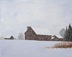 painting of a snow covered farm