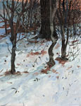 painting of the edge of a woods, snow and leaf covered ground