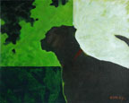 painting of a silhoutte of a dog looking out of a window
