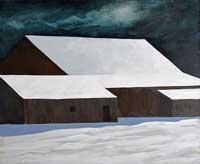 painting of a brown barn in a cloud filled moolit night with snow drifts in the foreground.