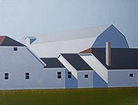 painting of a white multifaced large barn-like building with dark burgandy brown roof with green grass in the foreground and blue skies above