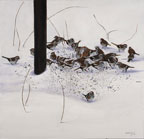 painting of lots of brwon sparrows at the base of a birdfeeder in the snow