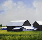 a painting of a group of barns and out buildings with a smaller bright blue building next to them against a cloud filled blue sky