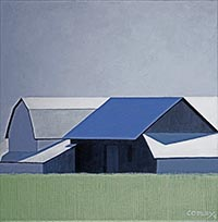 painting of a large barn in steel blue-grey colors with a green field in the foreground and blue skies above