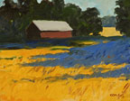 painting of a barn on the edge of a gree forest with a golden field of wheat in the foreground
