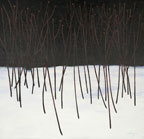 painting of a stand of small trees or bushes in the snow