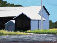 painting of a blue-grey building with a white roof set against a blue sky with a grey road and grass in the foreground. there's a telephone pole casting a shadow part way up the right side of the building