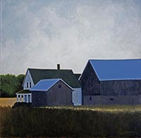 painting of a backlit house, barn and out building sitting in a grassy field with trees and cloudy blue sky in the background