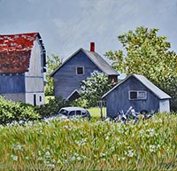 painting of a house, barn and outbuidling with a field of flowers in the foreground, lilacs and bushes around the buildings and blue sky with clouds