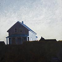 painting of a house with a covered porch very nearly a slhouette with a dark grassy foreground against a cloudy blue sky