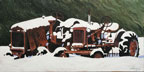painting of two rusty old tractos covered in snow