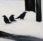 painting of 3 black crows standing in snow
