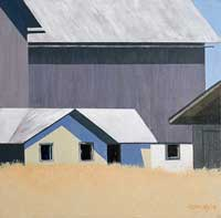 painting of multiple buildings; lower cream colored building in front of a large square dark grey barn both with white roofs. a field of golden grasses in the foreground and blue skies. This is a lighter rendition that the previous painting with perhaps less detail.