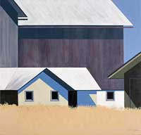 painting of multiple buildings; lower cream colored building in front of a large square dark grey barn both with white roofs. a field of golden grasses in the foreground and blue skies.