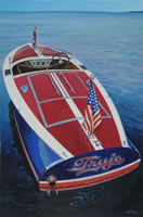 a painting of a speedboat named Trujo