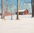 painting of a sunset over a snow covered farm