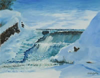 a painting of a waterfall in winter