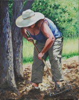 a painting of a woman raking leaves