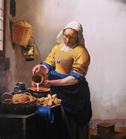 painting of a milkmaid wearing a U of M football jersey