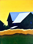 a painting of a couple of barns against a yellow sky with fields of green and gold in the foreground